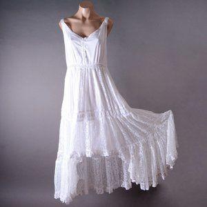 White Wedding Boho Lace Asymmetric Long Maxi Dress
